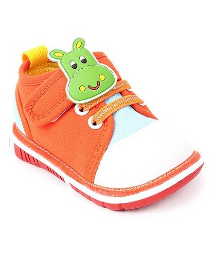 Cutewalk by Babyhug Animal Applique Shoes - Orange