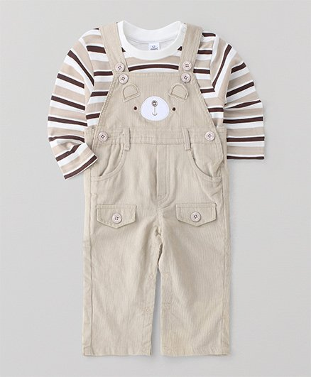 Olio Kids Dungaree Romper With T-Shirt Teddy Patch - Beige