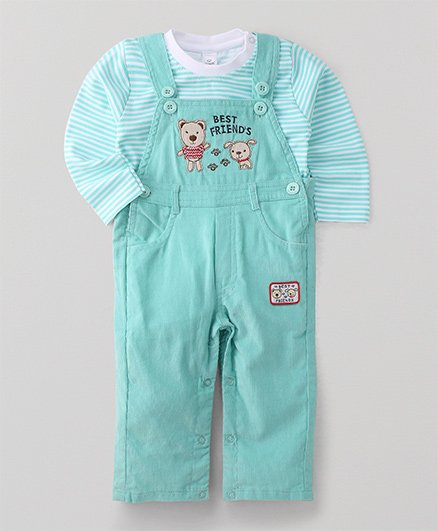 Olio Kids Dungaree Romper With T-Shirt Teddy & Puppy Patch - Green