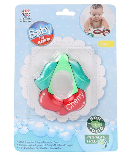 Ratnas Cherry Shape Water Filled Teether - Red & Green