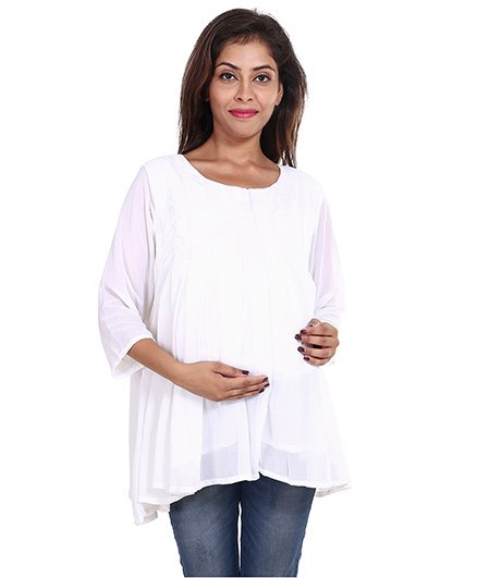 9teenAgain Three Fourth Sleeves Maternity Tunic Top - White