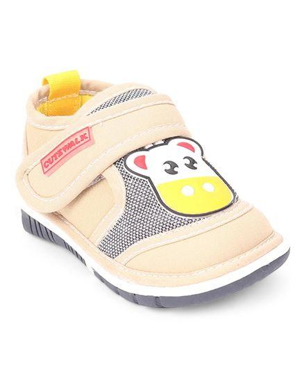 Cute Walk by Babyhug Casual Shoes With Giraffe Patch - Fawn