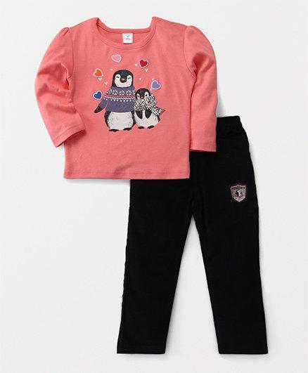 ToffyHouse Full Sleeves Top & Leggings Set Penguin Print - Peach Black