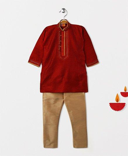 Babyhug Full Sleeves Kurta Pajama Set - Maroon