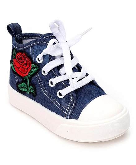 Cute Walk by Babyhug Denim Sneakers Floral Embroidery - Blue