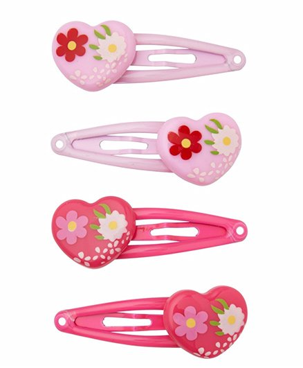 Mothercare Click Clack Hair Clips Heart Design Pink - 2 Pairs