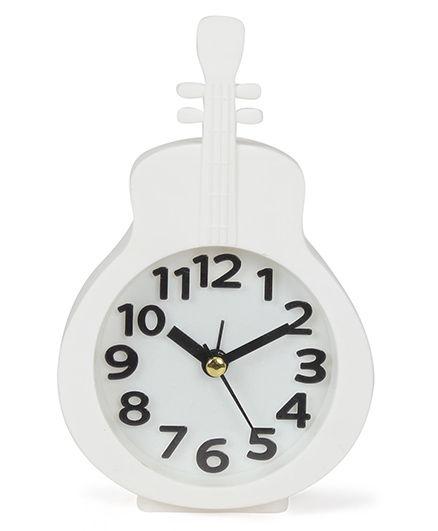 Guitar Shape Analog Alarm Clock - White