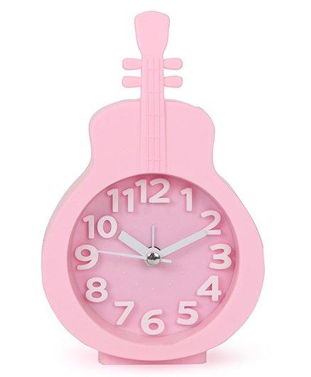 Guitar Shape Analog Alarm Clock - Pink