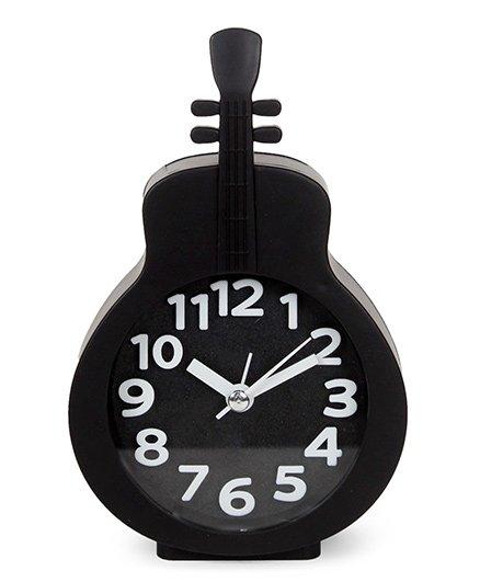 Guitar Shape Analog Alarm Clock - Black