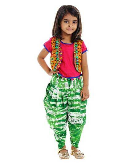 Twisha Top With Attached Jacket & Shibori Print Dhoti Pants - Green