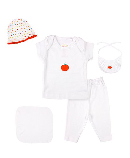 Grandmas Clothing Gift Set Apple Print Pack Of 7 - White