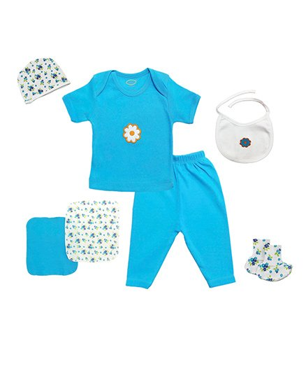 Grandmas Clothing Gift Set Floral Patch Pack Of 7 - Turquoise Blue