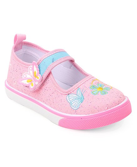 Cute Walk by Babyhug Shoes Floral Embroidery - Light Pink