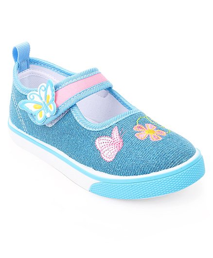 Cute Walk by Babyhug Shoes Floral Embroidery - Blue