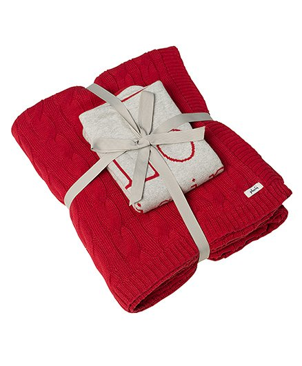 Pluchi Set Of Solid Bedsheet & Love Is In My Home Cushion Cover - Red & White
