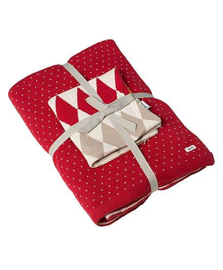 Pluchi Set Of Polka Dot Bedsheet & Cushion Cover - Red Stone Orange