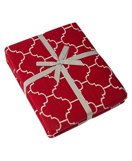 Pluchi Knitted Ellsworth Twin Size Blanket - Dark Red & Ivory