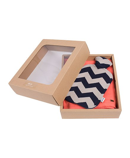 Pluchi Set Of Knitted French Poncho With Chevron Stone Bottle Cover - Peach