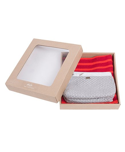 Pluchi Set Of Knitted Garnet Poncho With Veronica Metallic Pouch - Red & Grey