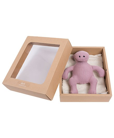 Pluchi Set Of Knitted Solid Poncho With Punch Hippo Toy - Pink & Off White