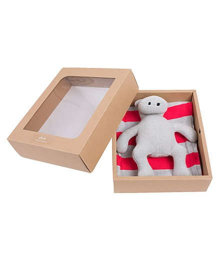 Pluchi Set Of Sarah Poncho With Hippo Toy - Red & Grey