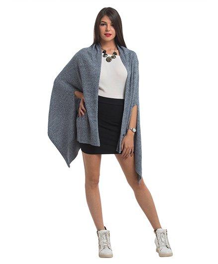 Pluchi Knitted Palma Poncho Wrap - Greyish Blue