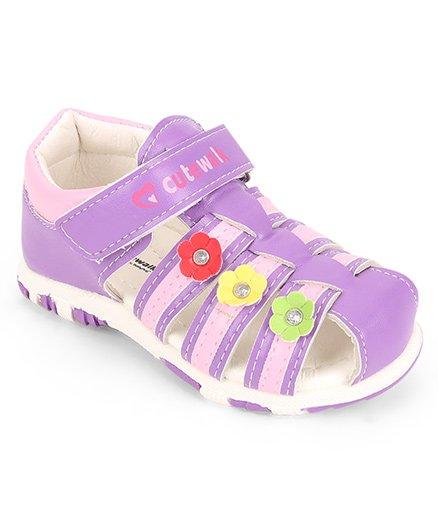 Cute Walk by Babyhug Closed Toe Sandal Velcro Closure Floral Patch - Purple