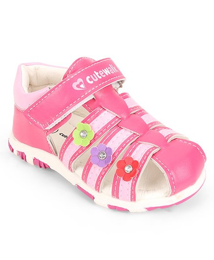 Cute Walk by Babyhug Closed Toe Sandal Velcro Closure Floral Patch - Dark Pink