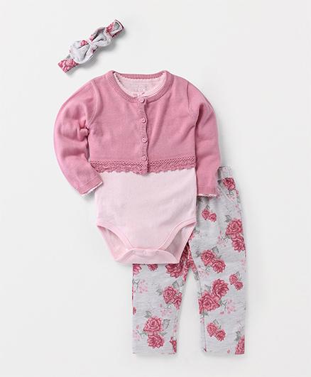 Fox Baby Full Sleeves Onesie With Leggings Shrug & Hair-Band - Pink