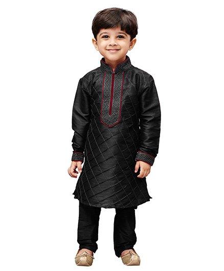 JBN Creation Cotton Silk Pintexed Kurta & Pyjama Set - Black