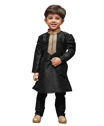 JBN Creation Cotton Silk Kurta & Pyjama Set With Embroidered Collar - Black