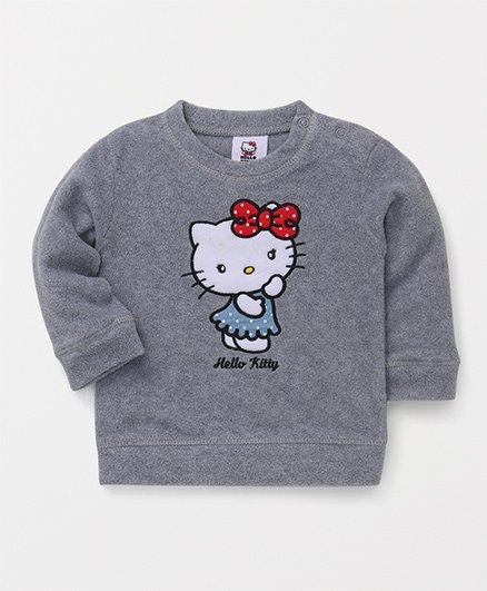 Fox Baby Full Sleeves Sweatshirt Hello Kitty Print - Grey
