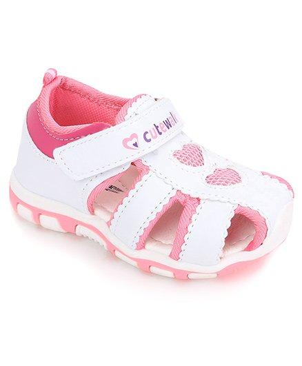 Cute Walk- (Size-26)(White)(Heart Print)-Baby Sandal