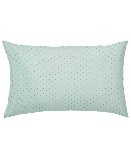 The Baby Atelier Organic Cotton Dots Junior Pillow Cover Without Filler - Green & Pink