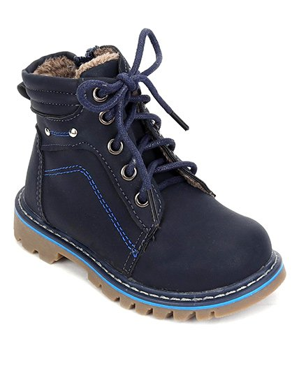 Cute Walk by Babyhug Ankle Length Boots - Navy Blue