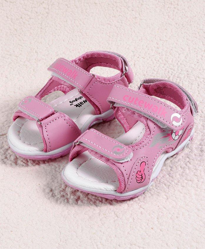 Cute Walk by Babyhug Sandal Football Design - Pink