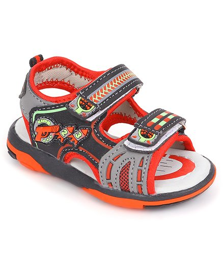 Cute Walk by Babyhug Rocket Design Sandals - Red Black