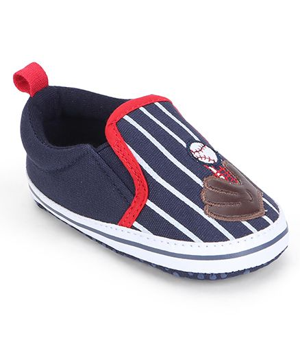 Cute Walk by Babyhug Booties Stripes Print Ball & Gloves Patch - Navy