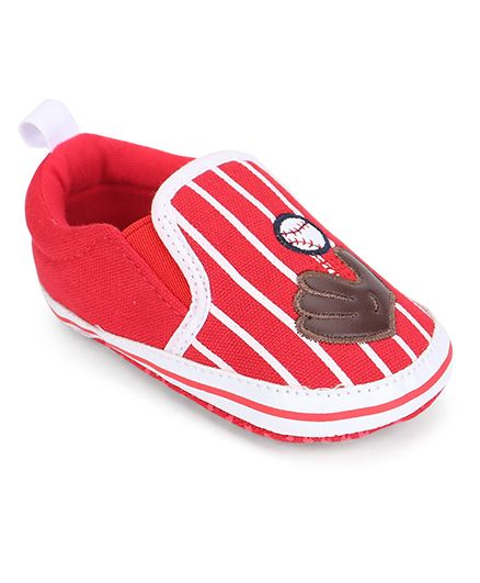 Cute Walk by Babyhug Booties Stripes Print Ball & Gloves Patch - Red