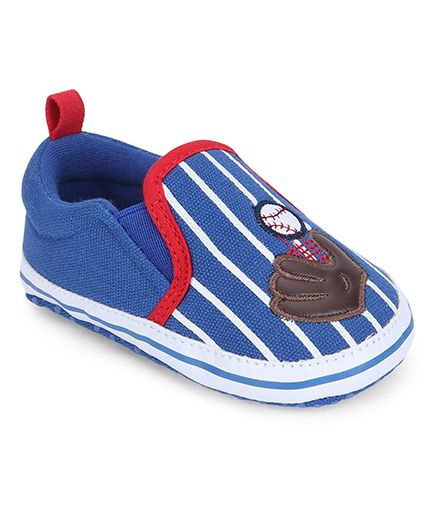 Cute Walk by Babyhug Booties Stripes Print Ball & Gloves Patch - Royal Blue