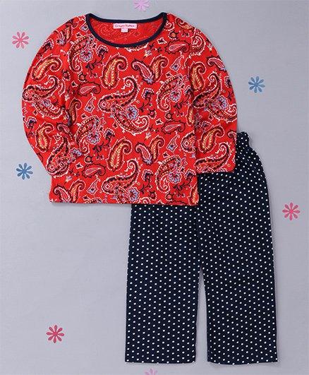 CrayonFlakes Polka Printed Night Suit - Red & Navy Blue