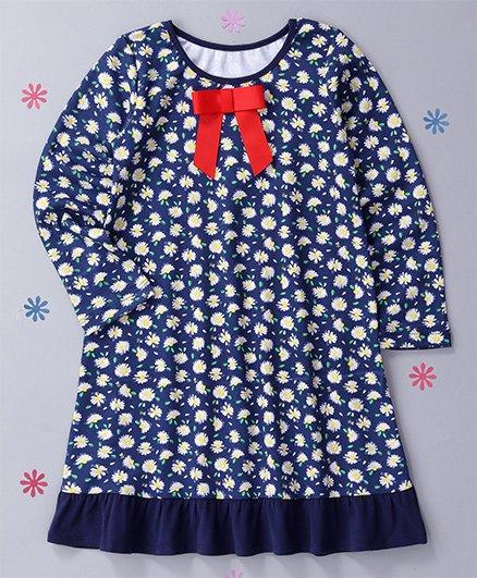 CrayonFlakes Flower Printed Nighty - Blue