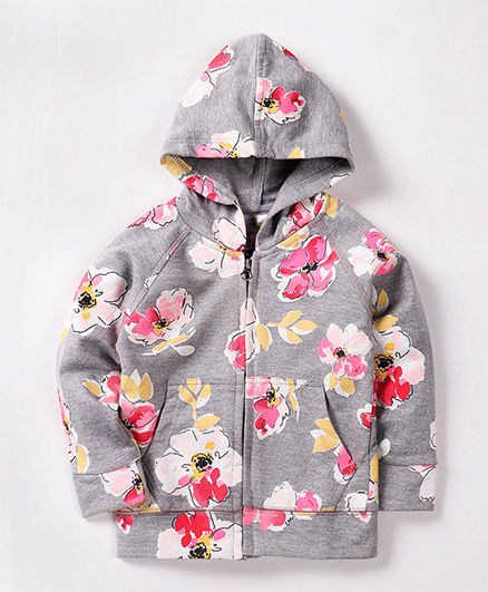 Cucumber Full Sleeves Hooded Sweat Jacket Floral Print - Light Grey