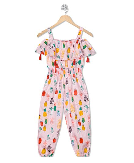 Budding Bees Printed Long Jumpsuit - Pink
