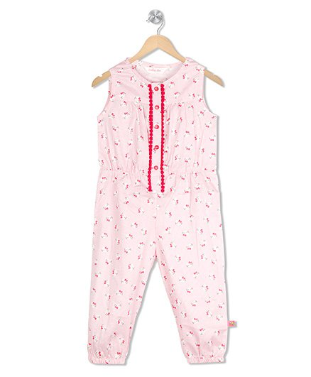 Budding Bees Printed Jumpsuit - Pink