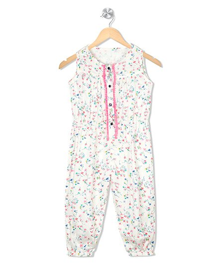 Budding Bees Printed Jumpsuit - Off White