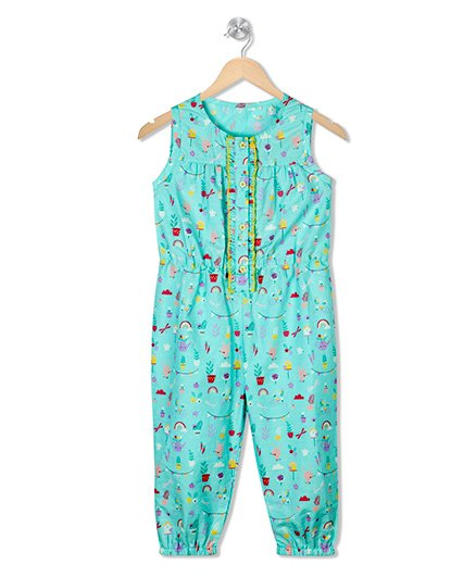 Budding Bees Printed Jumpsuit - Sky Blue