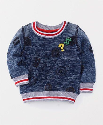 Little Kangaroos Full Sleeves Sweatshirt Patch Detailing - Navy Blue
