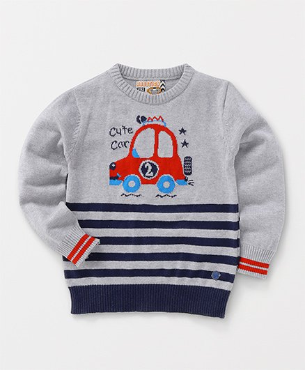 Vitamins Full Sleeves Sweatshirt Car Design - Grey Navy
