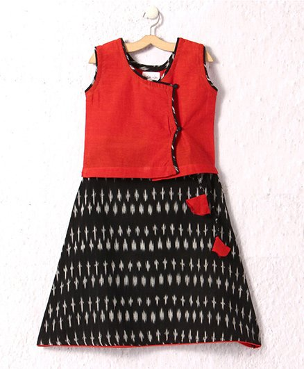 Petite Kids Ikat Skirt & South Handloom Cotton Top - Black